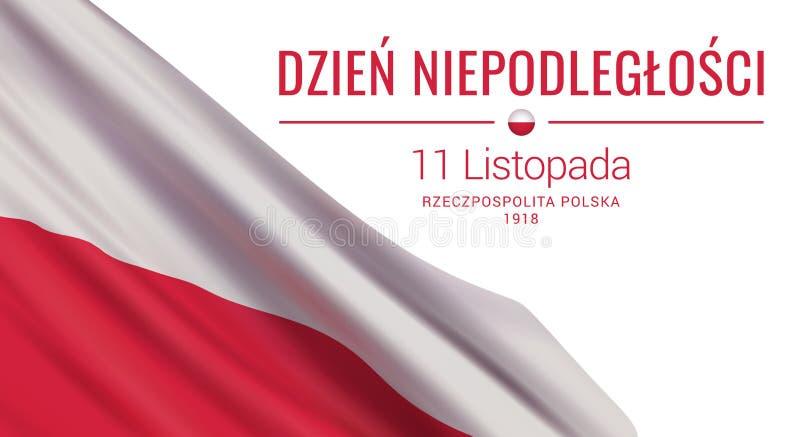 Vector-Banner-Designvorlage mit polnischer Flagge und Text mit weißem Hintergrund vektor abbildung