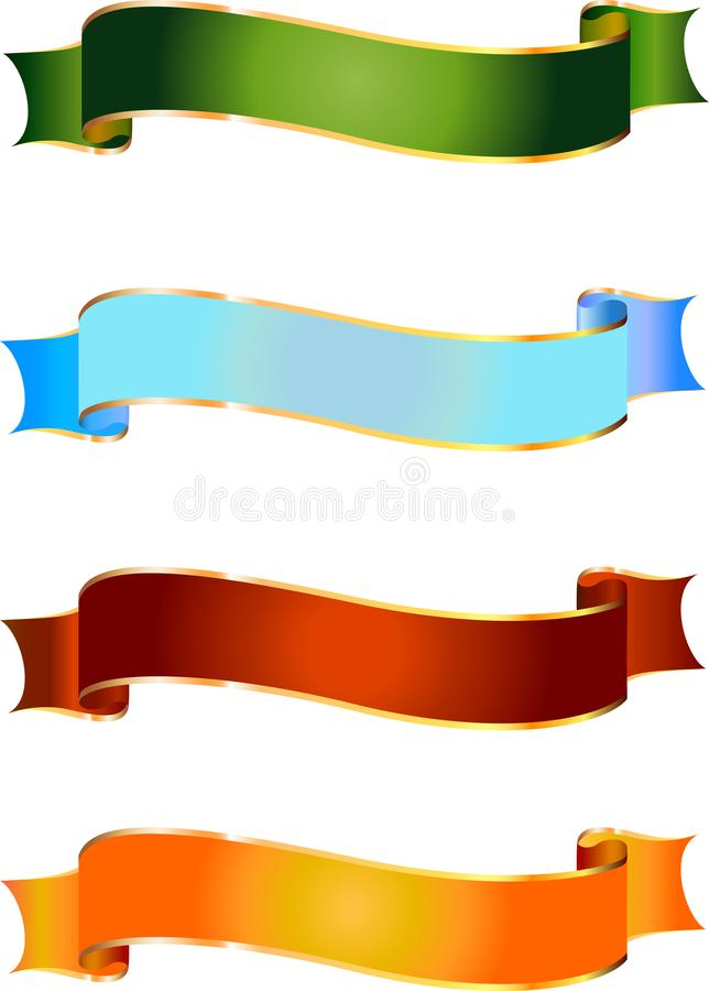Vector banner of different colours. Vector red, blue. gold and green banners. Illustration for your design royalty free illustration