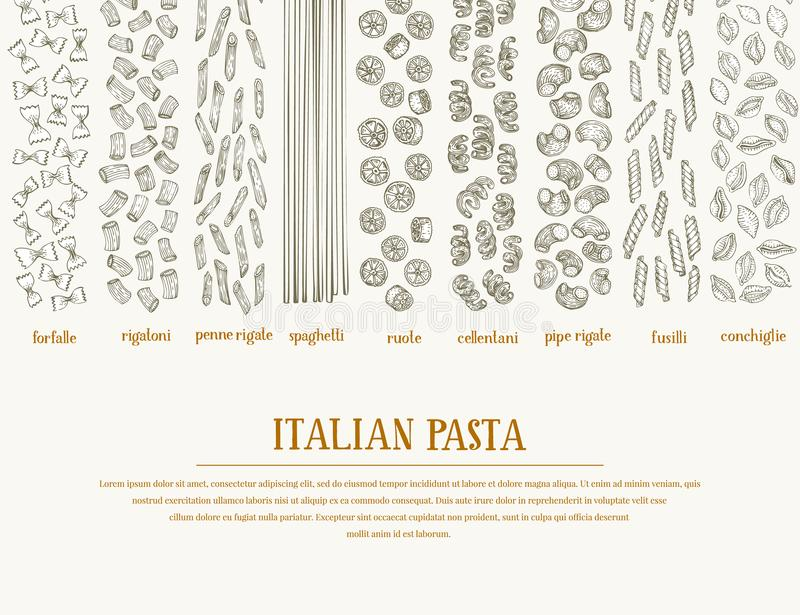 Vector banner with different types of traditional Italian pasta. Hand drawn background. Can be use for menu or packaging design. I stock illustration