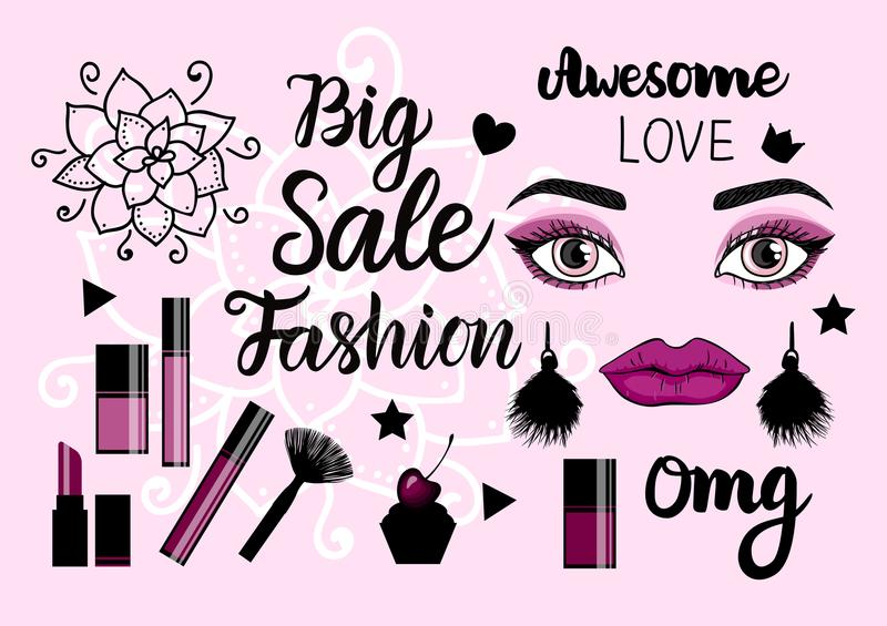 Vector Banner Fashion Big Sale. Hand drawn female face with trend make up and tassel earrings. Cometics bottle. royalty free illustration