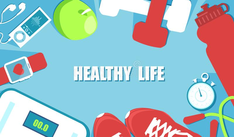 Fitness, sport, diet and healthy lifestyle concept. Vector banner for fitness, sport, diet and healthy lifestyle concept stock illustration