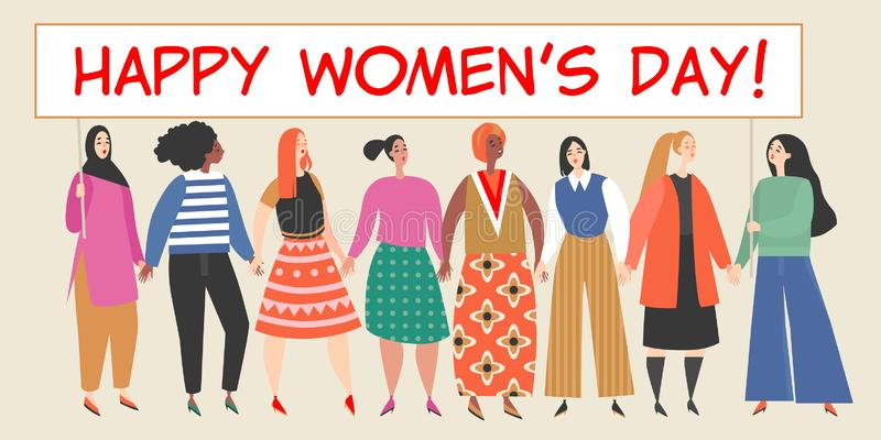 Vector banner with a group of women holding a big placard with congratulations to the International Women`s Day. Happy young women of different nationalities stock illustration