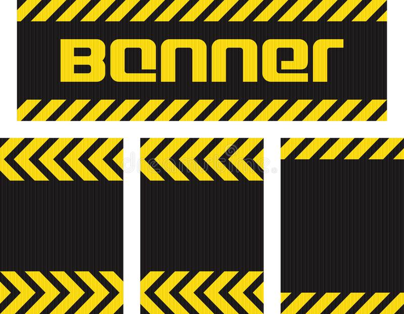 Vector banner with horizontal yellow and black lines on the corrugated metal surface black and three seamless horizontal same meta. Llic background vector illustration