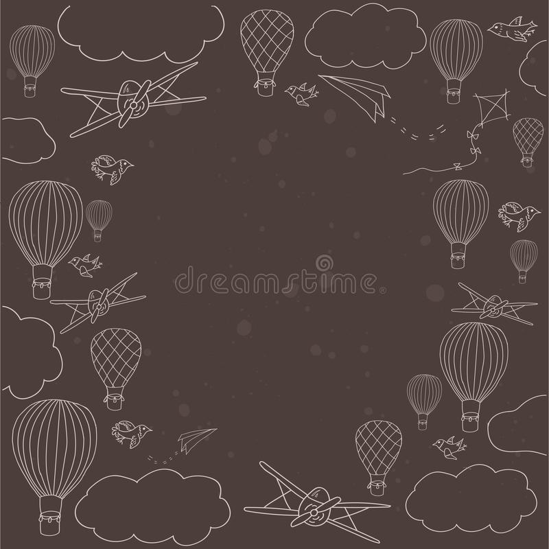 Vector banner with hot air baloons flying in the sky stock illustration