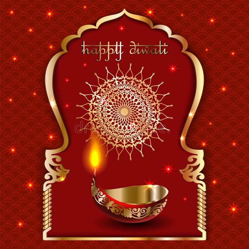 Vector banner India Diwali, Deepavali festival of lights, red background Dipavali with gold ornaments, fire glowing lamp, flashes stock illustration