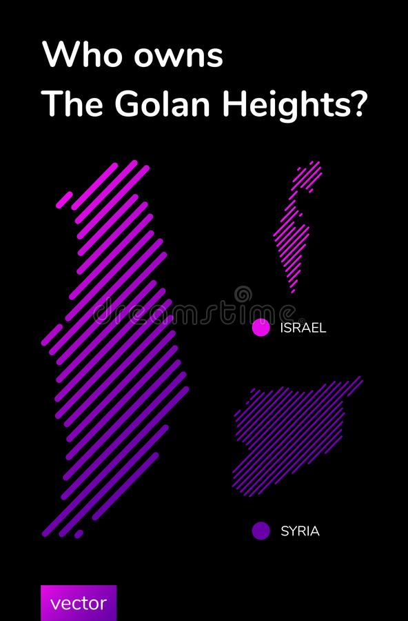 Vector banner about Israel and Syria political conflict about the golan heights royalty free illustration