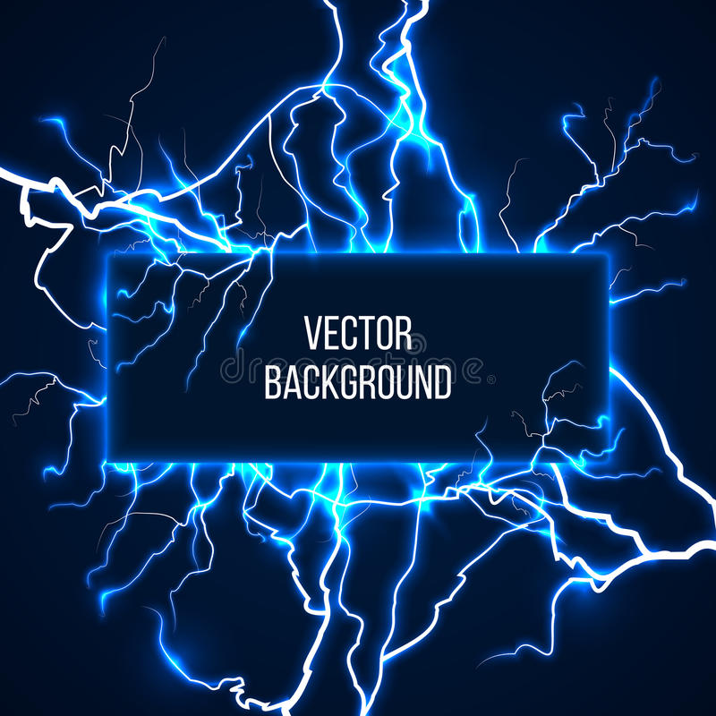 Vector banner with lightnings and discharge. Current. voltage storm, weather nature illustration vector illustration