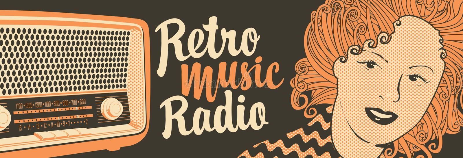 Banner for retro music radio with old radio receiver. Vector banner for radio station with an old radio receiver, woman face and inscription Retro music radio stock illustration
