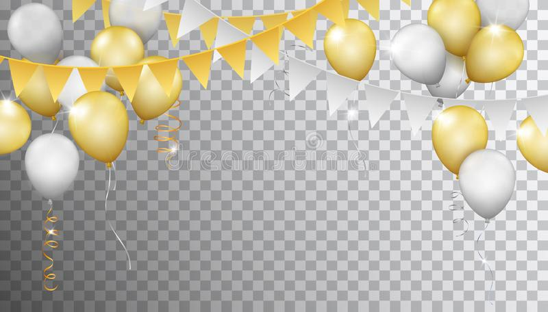 Vector banner with realistic metallic golden and silver balloons vector illustration