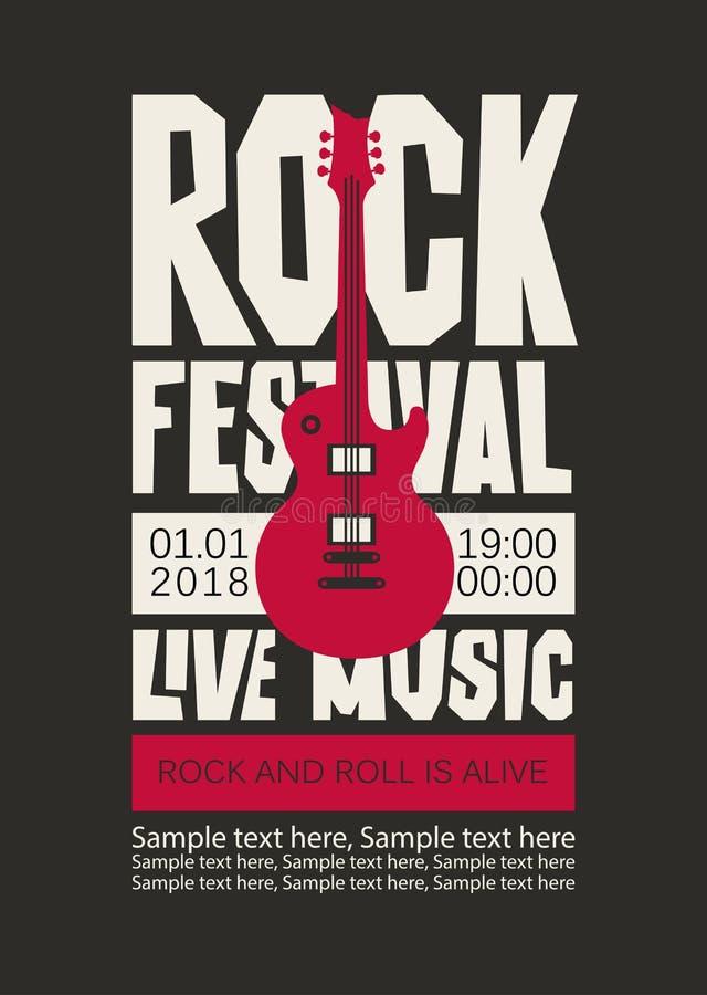 Vector banner for Rock Festival of live music royalty free illustration
