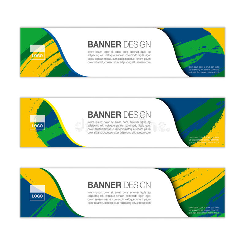 Vector banner template with colored lines and waves. vector eps10. Vector banner template with colored lines and waves. Three colors concept of Brazil flag vector illustration