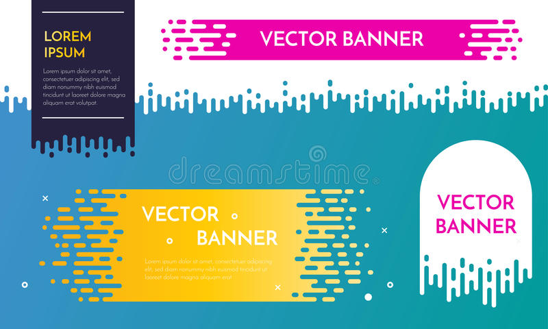 Vector banner template design with dripping irregular flow effect. Web design elements stock illustration
