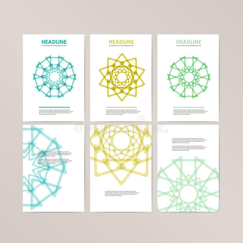 Vector banner template design with spherical and polygonal elements. royalty free illustration