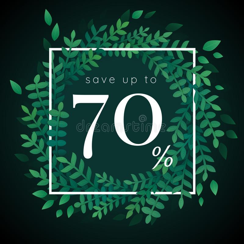Vector banner template. Sale up to 70 % with white square and wreath with green leaves. Vector banner, flyer, invitation, greeting card, web template. White vector illustration