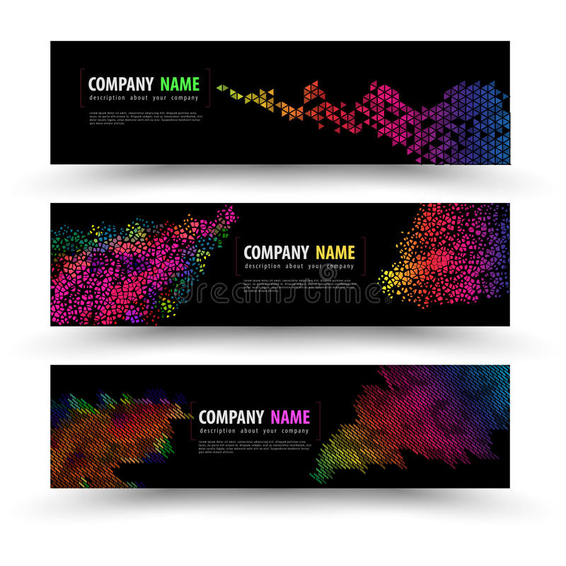 Vector banner templates set with geometry spectrum. Vector illustration royalty free illustration