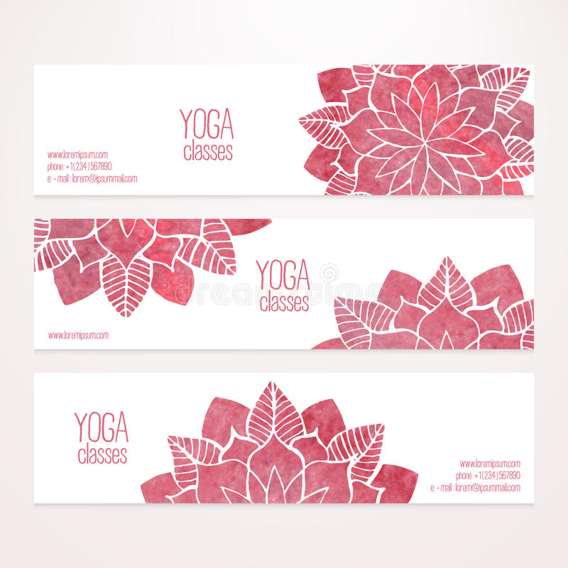 Vector banner templates with watercolor pink abstract flowers stock illustration