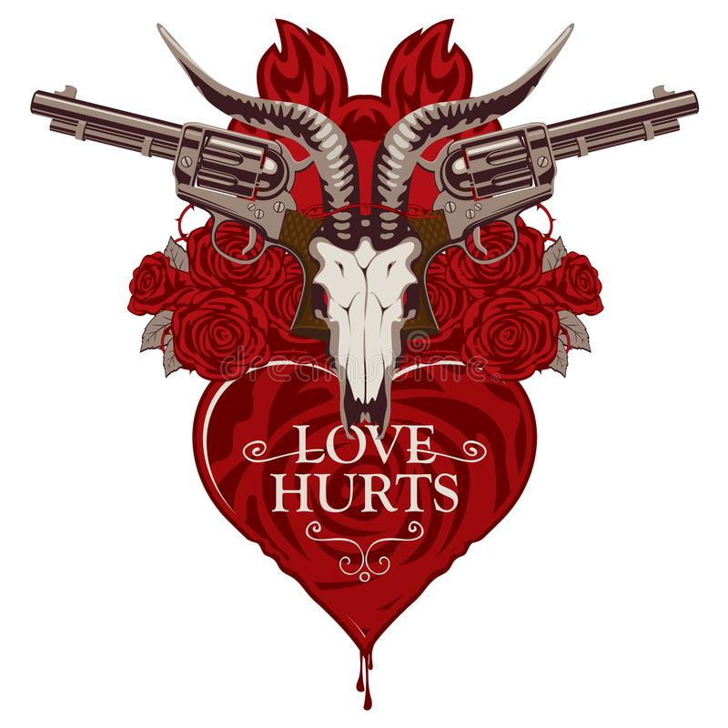 Banner with pistols on the theme of love hurts stock vector illustration with skull of goat red heart roses old revolvers and barbed wire isolated on white background voltagebd Gallery