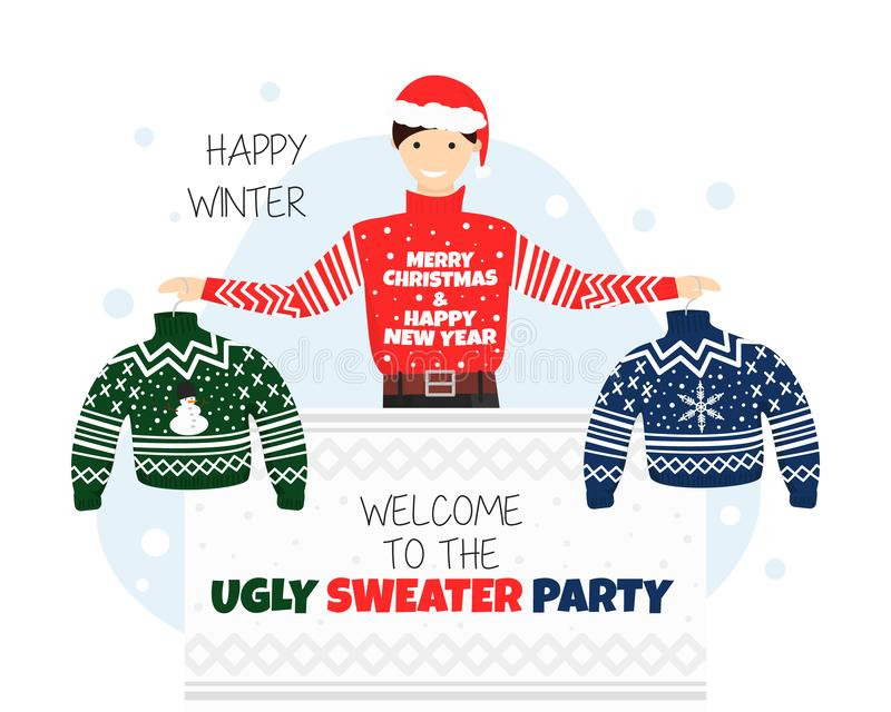 Vector Banner for Welcome to Ugly Sweater Party vector illustration