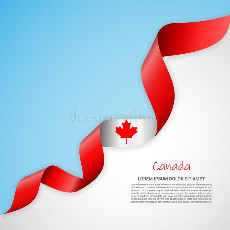 Vector banner in white and blue colors and waving ribbon with flag of Canada. Template for poster design, brochures. Printed materials, logos, independence day royalty free illustration