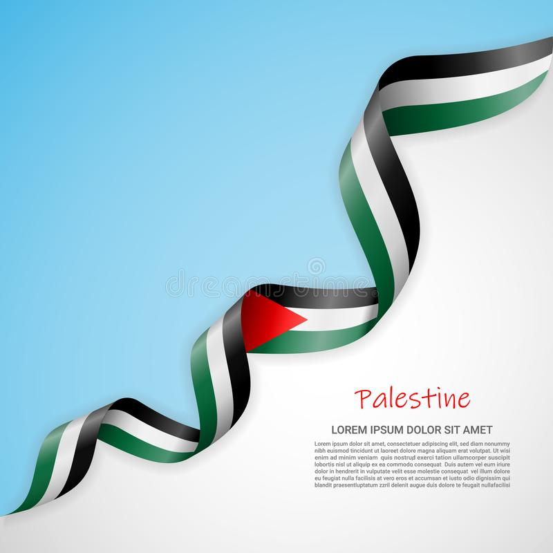 Vector banner in white and blue colors and waving ribbon with flag of Palestine. Template for poster design, brochures royalty free illustration