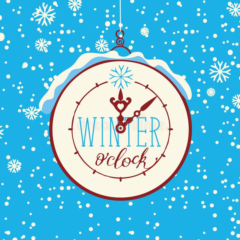 Vector winter banner with clock and snowflakes vector illustration