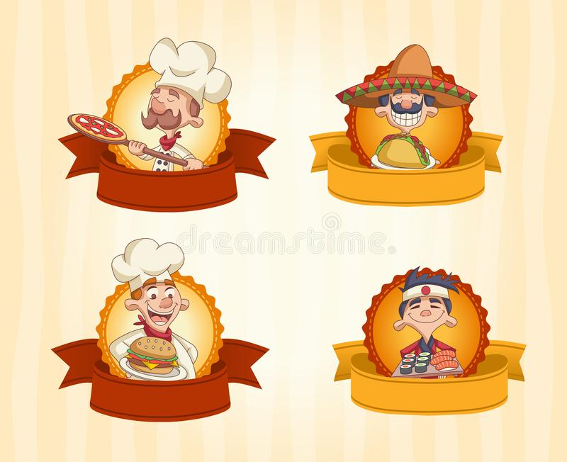 Vector banners / backgrounds with cartoon chefs cooking and holding tray with food. Design text ribbons stock illustration