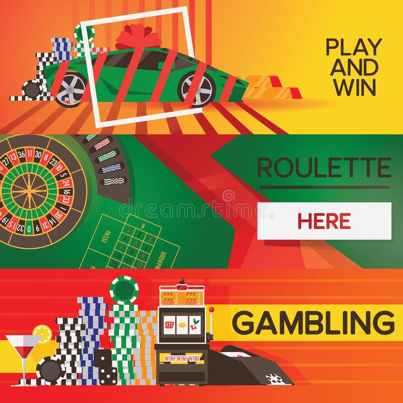 Vector banners with casino gambling elements. Bright designs with roulette and game objects royalty free illustration