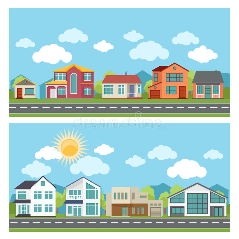 Vector banners with cottage houses in flat design stock illustration