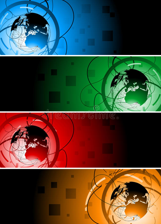 Vector banners with globe stock illustration