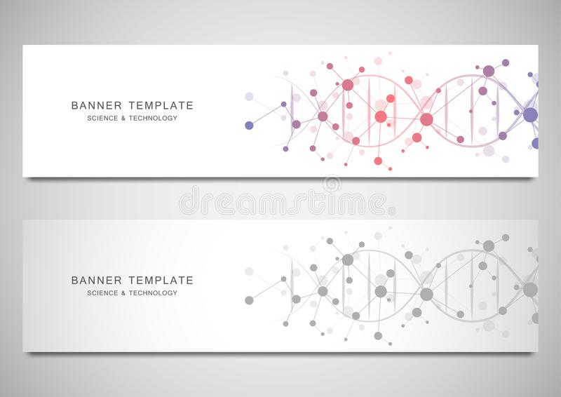 Vector banners and headers for site with DNA strand and molecular structure. Genetic engineering or laboratory research vector illustration