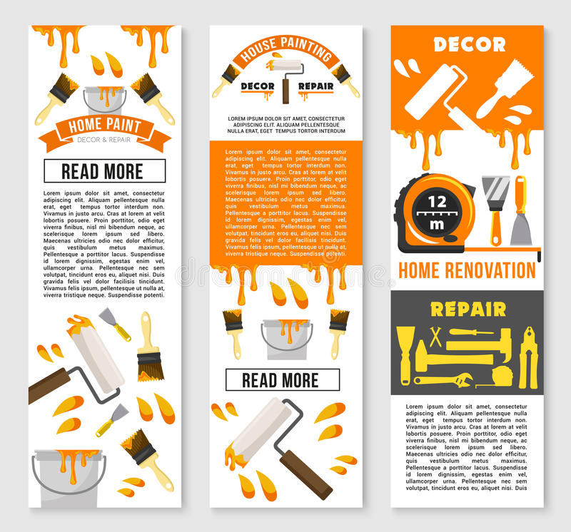 Vector banners of home repair renovation service stock illustration