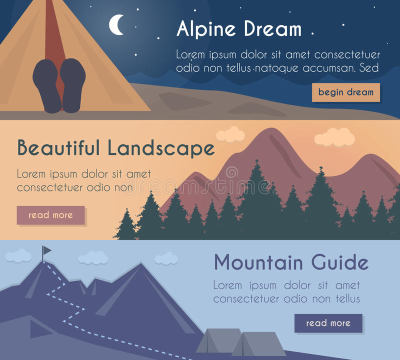 Vector banners illustration set - mountain hiking in the beautiful landscape with mountain guide. Vector banners set - mountain hiking in the beautiful royalty free illustration