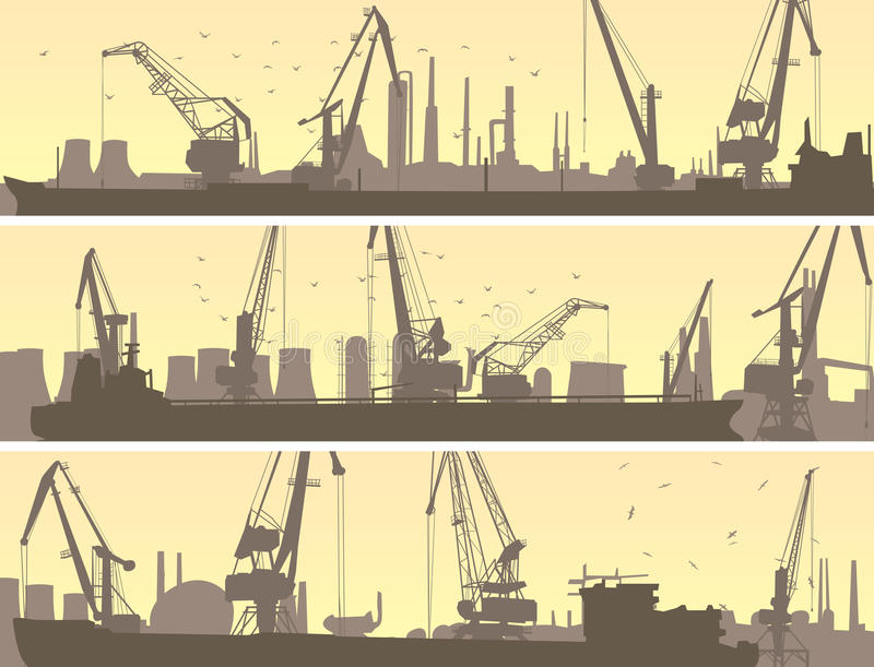 Vector banners of industrial port with cargo crane. royalty free illustration