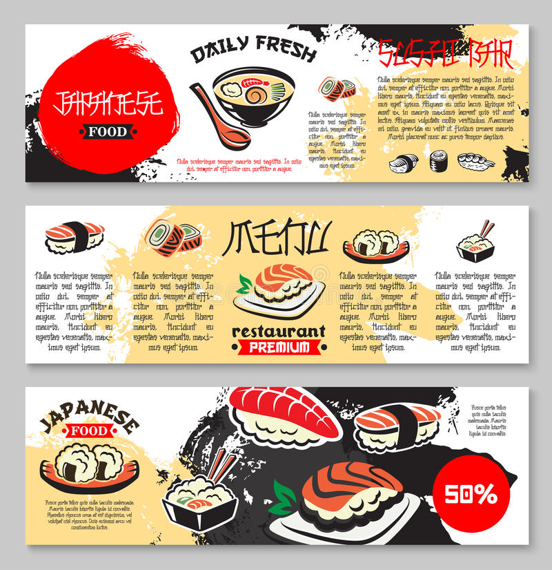 Vector banners for Japanese seafood restaurant. Japanese seafood restaurant or sushi bar menu banners. Vector design of fish sushi and rolls, noodles with tofu stock illustration