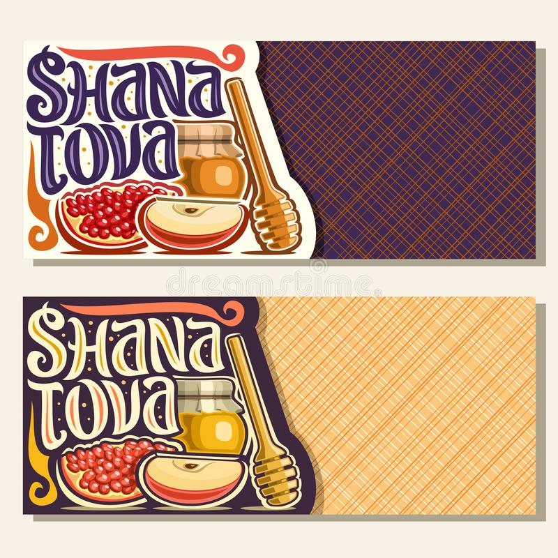 Vector banners for jewish holiday Rosh Hashanah. With copyspace, autumn honey in pot, wooden stick, traditional food - sweet apple and healthy pomegranate stock illustration