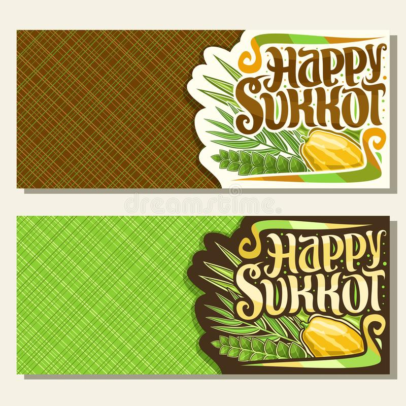 Vector banners for jewish holiday Sukkot. With copy space, cards with four species of festive food - ripe citrus etrog, palm branch, arava and myrtle, original vector illustration