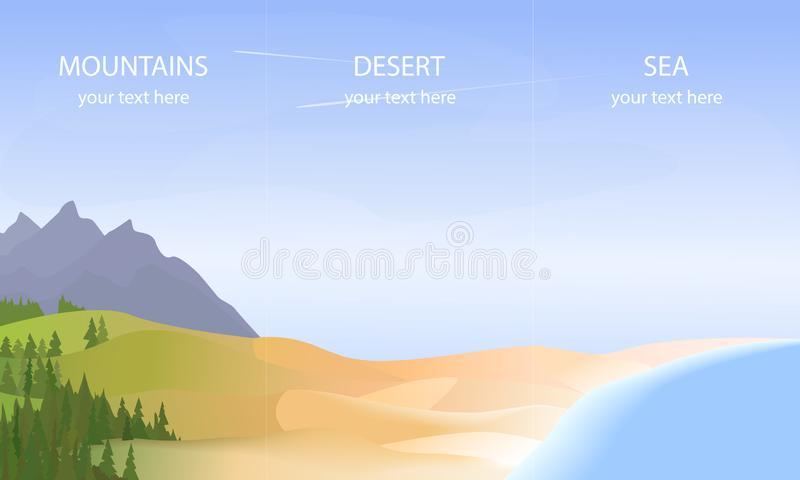 Vector banners with landscape. Background illustration - mountains sea desert. Vector travel agency flyer. royalty free illustration