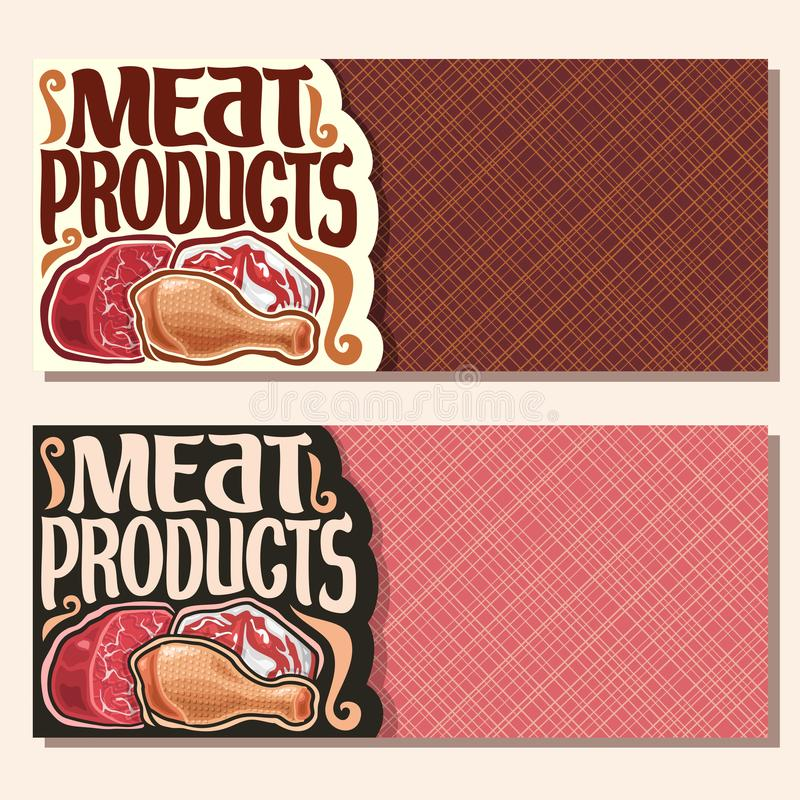 Vector banners for Meat. With copy space, cut piece of raw marble beef, chop slice of fat pork meat, uncooked chicken drumstick, original brush typeface for vector illustration