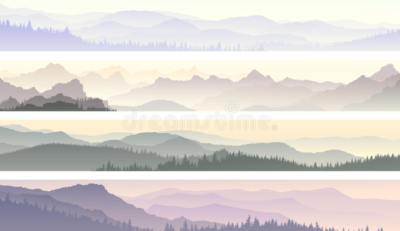 Vector banners of misty forest hills. royalty free illustration