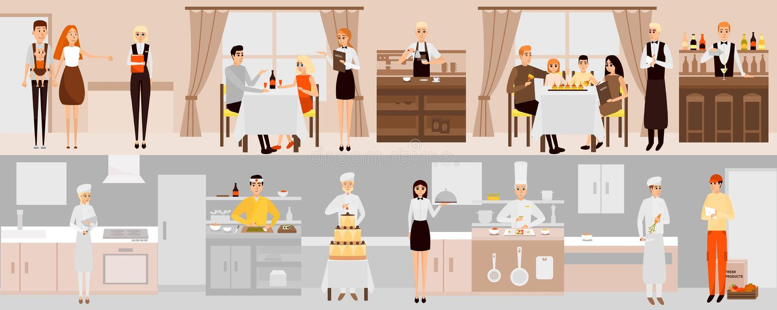 Vector banners with restaurant interior. People having dinner in restaurant. Cartoon characters. Chefs cooking food in vector illustration