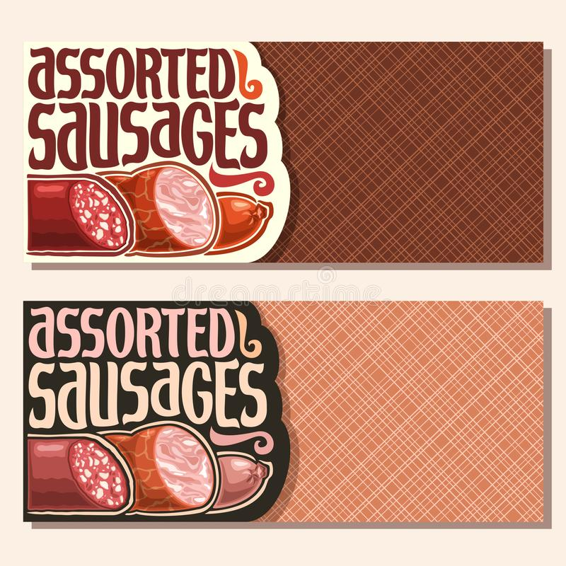 Vector banners for Sausage. With copy space, original typeface for title text assorted sausage, cured chorizo salami, sliced fat ham and smoked beef sausage stock illustration