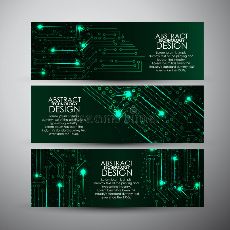 Vector banners set with Abstract green lights technology background. stock illustration