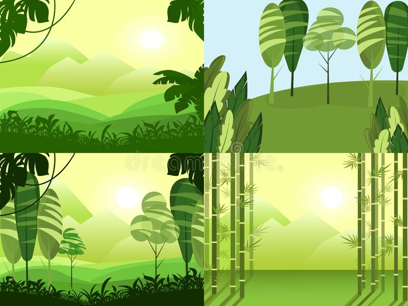 Vector banners set with cartoon green polygonal landscape. Travel rest sky mountains trees hills. Background. Vector illustration stock illustration