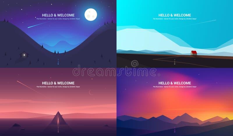Vector banners set . Landscape illustration . flat design. Vector banners set with polygonal landscape illustration - flat design stock illustration