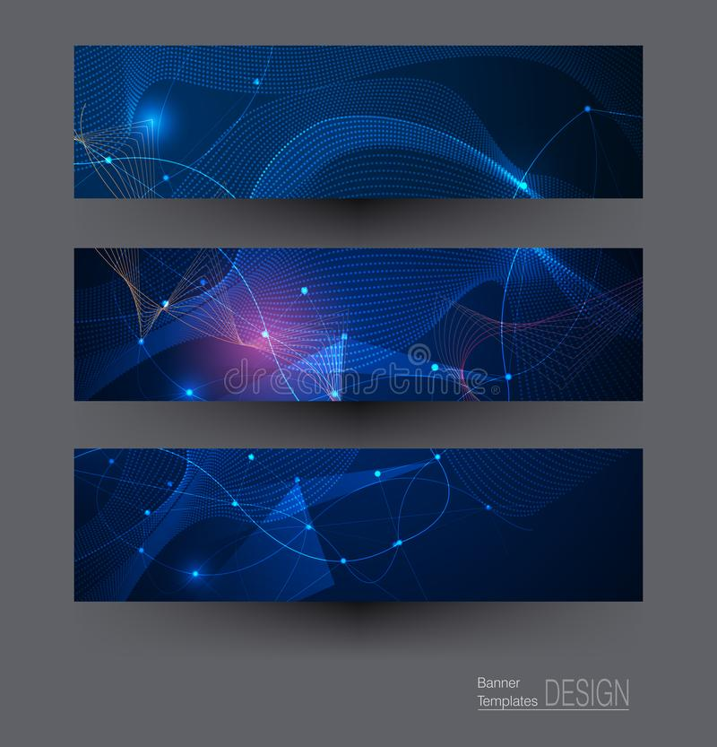 Vector banners set, network communication on dark blue background. Illustration banners set, Abstract Molecules with Circles, Lines, Geometric, Polygon. Vector royalty free illustration