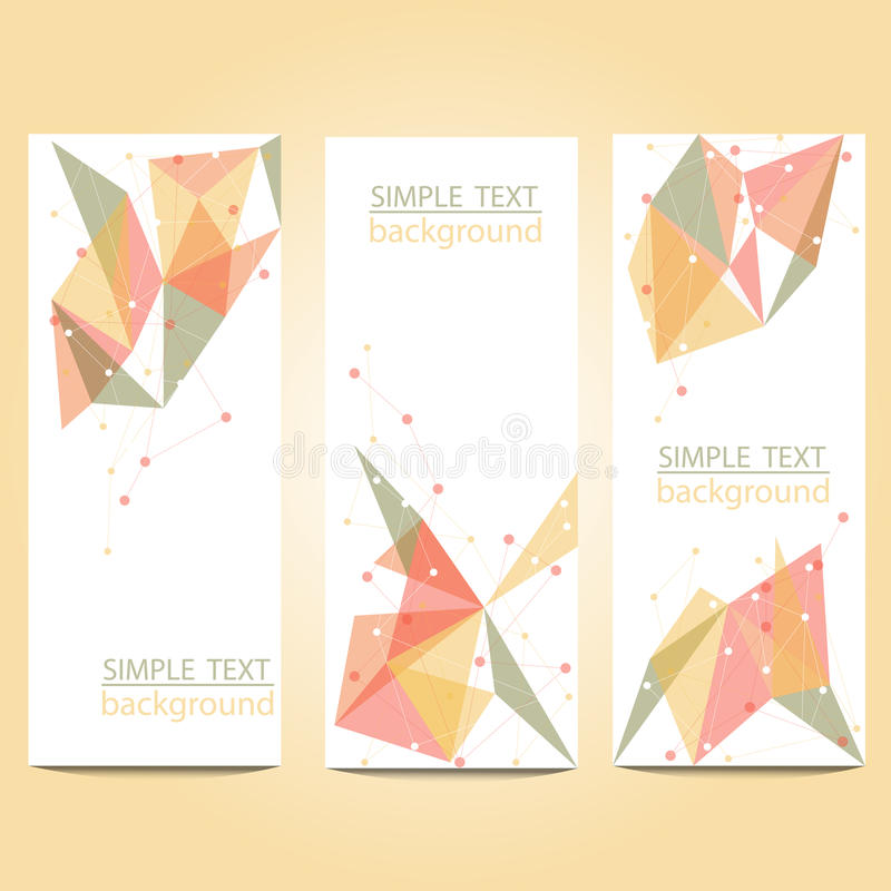 Vector banners set with polygonal abstract shapes, with circles, lines, triangles royalty free stock image
