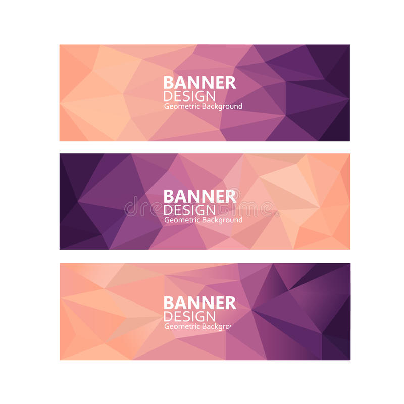 Vector banners set with polygonal abstract shapes, with circles, lines, triangles stock photography