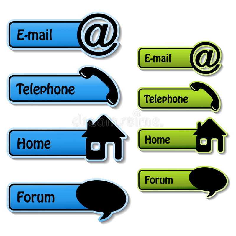 vector banners - telephone, email, home, forum stock illustration