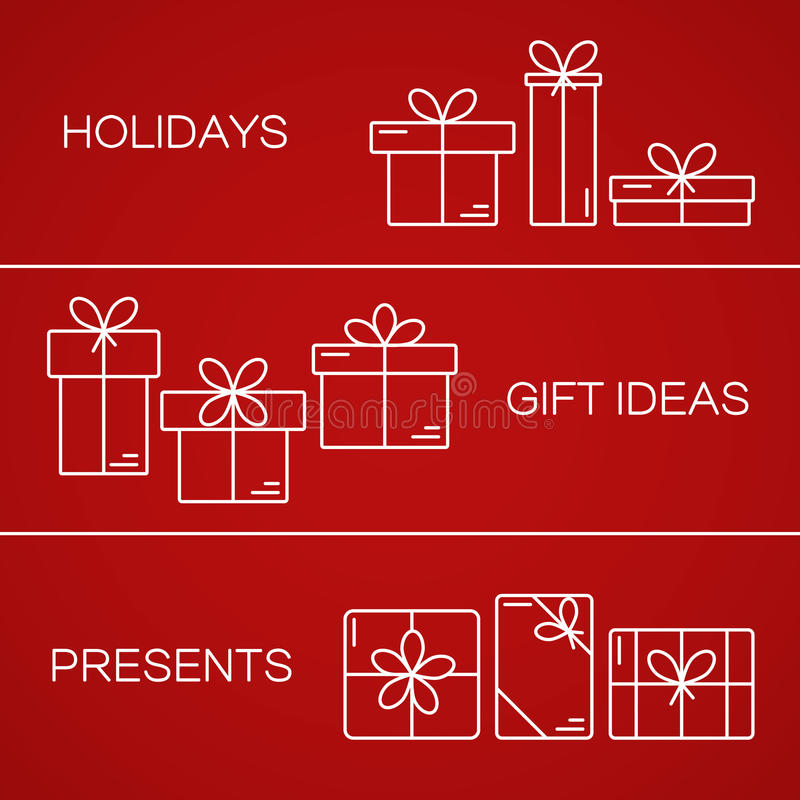 Vector banners with thin line icons of gift boxes. royalty free illustration