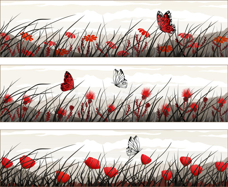 Vector banners with wild flowers and butterflies royalty free illustration